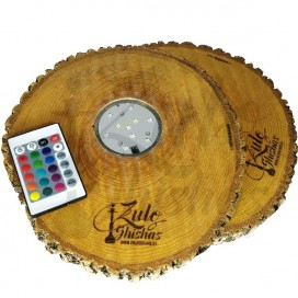 Imágenes de base con led para cachimbas fabricada en madera natural comprar online