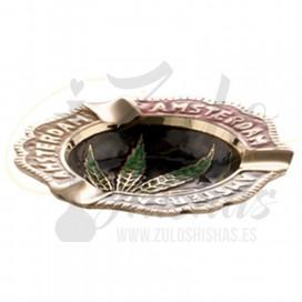 Imágenes de cenicero para cachimbas AMSTERDAM con hoja de marihuana fabricado en ACERO