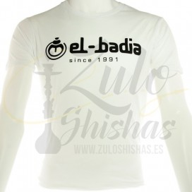 Imágenes de camisetas para cachimbas EL BADIA en color BLANCA
