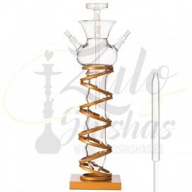 Imágenes de cachimba estilo MEDUSA con estructura de ACERO - MS MASHISHA RING GOLD fabricada completamente en CRISTAL