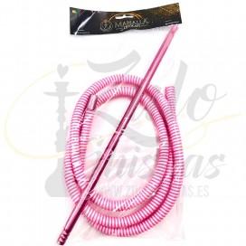 Imágenes de manguera corrugada para cachimbas y aluminio MAHALLA HOSE PINK ROSA BLANCA WHITE