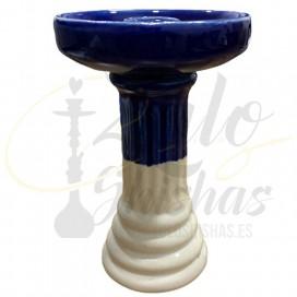 Imágenes de cazoleta para cachimbas de porcelana en color AZUL y BLANCA
