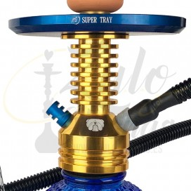 Imágenes de cachimba Super Hookah dorada y azul SETUP completo cachimba Brasileña