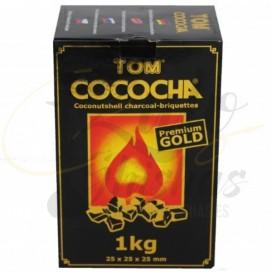Imágenes de carbón natural Tom Cococha Gold formato 1Kg para cachimbas.