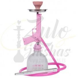 Imágenes de cachimba o shisha con forma de pistola y diseño moderno en color rosa