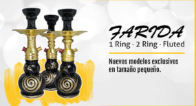 Farida 1 Ring, 2 Ring y Fluted. Cachimbas en tamaño pequeño.